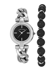 Anne Klein Inspirational Natural Stone Analog Watch And Onyx Bracelet Set