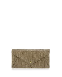 Neiman Marcus Snake Embossed Envelope Travel Wallet Tan Black