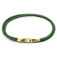 Anchor And Crew Racing Green Liverpool 9Ct Yellow Gold Stingray Leather Bracelet Gold Green