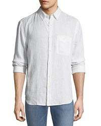 7 For All Mankind Linen Long Sleeve Oxford Shirt Cloud White