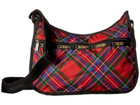 Le Sport Sac Classic Hobo Bag Cozy Plaid Red Cross Body Handbags