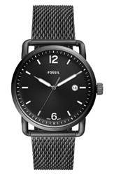 Fossil 'S The Commuter Mesh Strap Watch 42Mm Grey Black Smoke