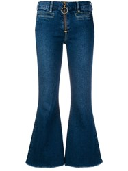 Mih Jeans Cropped Flared Blue