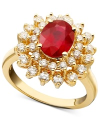 Effy Collection Royalty Inspired By Effy Ruby 1 9 10 Ct. T.W. And Diamond 1 Ct. T.W. Oval Ring In 14K Gold