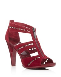 Michael Michael Kors Berkley Punch Embellished T Strap Sandals Cherry Silver