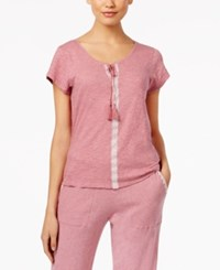 Lucky Brand Embroidered Pajama T Shirt Hot Pink