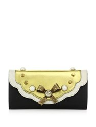Gucci Peony Flap Leather Clutch Black Gold