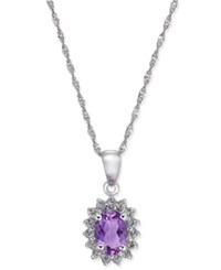 Macy's Amethyst 3 4 Ct. T.W. And White Topaz 1 6 Ct. T.W. Pendant Necklace In 10K Gold White Gold