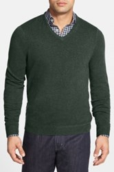 John W. Nordstrom Cashmere V Neck Sweater Regular And Tall Green