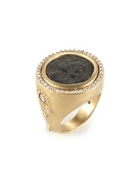 Coomi Antiquity 20K Coin Ring With Full Diamond Bezel