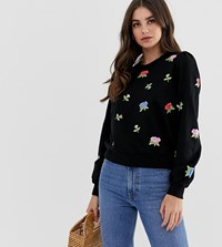 Asos Design Tall Sweatshirt With Floral Embroidery Black