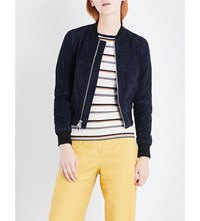 Theory Daryette Suede Bomber Jacket Deep Navy