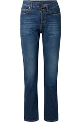 Saint Laurent Embroidered High Rise Slim Leg Jeans Mid Denim Gbp