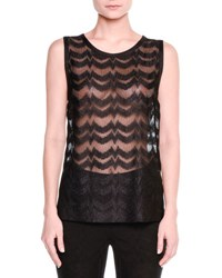 Missoni Sheer Zigzag Sleeveless Top Black