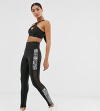 South Beach Zebra Print Panelled Leggings Black