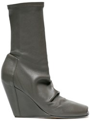Rick Owens Leather 80 Wedge Boots With Open Toe Grey