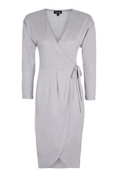 Topshop Wrap Batwing Midi Dress Pale Blue
