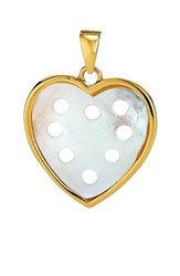 Asha Women's Small Mother Of Pearl Heart Charm Gold Mother Of Pearl