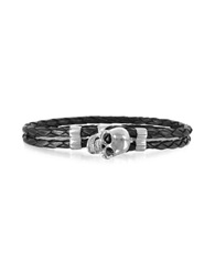 Forzieri Skull Silver Tone Brass And Leather Men's Bracelet