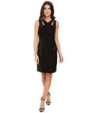 Laundry By Shelli Segal Sheath Dress W Cut Outs Faux Leather Black Women's Dress