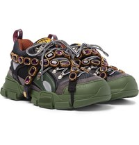 Gucci Flashtrek Embellished Suede Leather And Mesh Sneakers Green