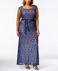 R And M Richards Plus Size Cap Sleeve Lace Gown Navy Taupe
