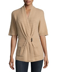 Neiman Marcus Cashmere Collection Cashmere Basketweave Toggle Front Cardigan Women's