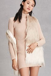 Forever 21 Alex And Max Faux Fur Vest Taupe Cream