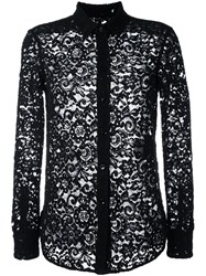 Saint Laurent Floral Lace Long Sleeve Shirt Black