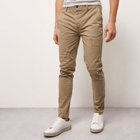 River Island Mens Brown Skinny Fit Distressed Casual Trousers