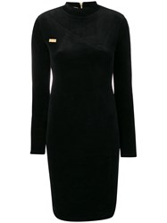 Gcds Logo Plaque Fitted Dress Black