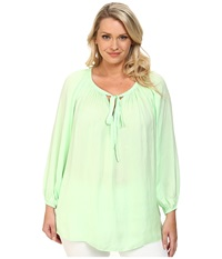Vince Camuto Plus Plus Size Rumple Peasant Blouse Reef Green Women's Blouse Blue