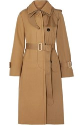 Sacai Melton Wool And Cotton Gabardine Trench Coat Beige