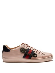 Gucci New Ace Safety Pin Leather Trainers Pink
