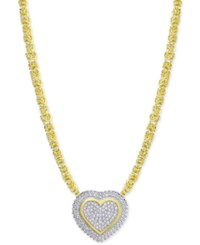 Macy's Diamond Heart Byzantine Pendant Necklace 1 2 Ct. T.W. In 18K Gold Plated Sterling Silver Yellow Gold