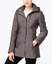 Calvin Klein Hooded Chevron Quilted Coat Titan