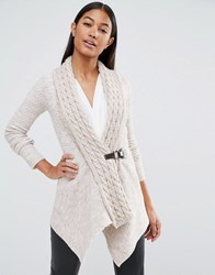 Lipsy Cable Knit Cardigan With Buckle Detail Oatmeal Beige