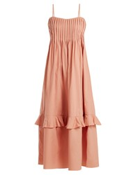 Three Graces London Nedda Sleeveless Pleated Cotton Dress Light Pink