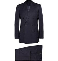 Kingsman Navy Double Breasted Super 120S Wool And Cashmere Blend Suit