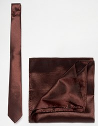 Asos Bronze Tie And Pocket Square Pack Brown