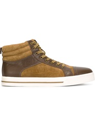 Armani Jeans Panelled Hi Top Sneakers Nude And Neutrals