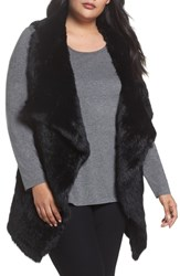 Love Token Plus Size Genuine Rabbit Fur Vest Black