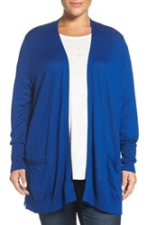 Sejour Plus Size Women's Rib Waist Cardigan Blue Surf