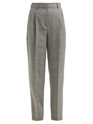 Givenchy Prince Of Wales Check Tapered Wool Trousers Grey Multi
