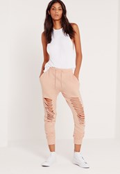 Missguided Extreme Distressed Knee Joggers Nude Beige