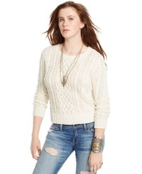 Denim And Supply Ralph Lauren Cable Knit Crew Neck Sweater Guide Cream