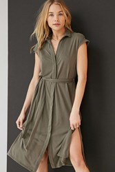 Silence And Noise Collared Knit Shirt Midi Dress Olive