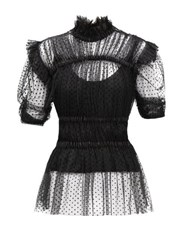Romance Was Born Frolic Ruched Polka Dot Tulle Top Black