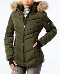 Madden Girl Faux Fur Trim Hooded Chevron Puffer Coat Olive