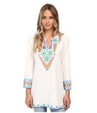 Kas Sanjay Embroidered Tunic White Women's Blouse
